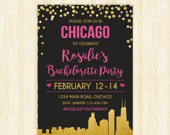 Chicago bachelorette weekend invitation Chicago bridal shower invitation itinerary Chicago party invitation printable Chicago invitation 284