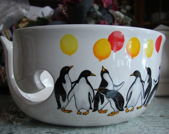 A Penguin Mothers Day Celebration!  Large Ceramic Yarn Bowl / Yarn Holder