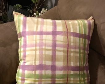 Plaid Pillow Cover, 16x16 Pillow Cover, Pillow Cover, Throw Pillow Cover, Purple and Green Plaid Pillow Cover