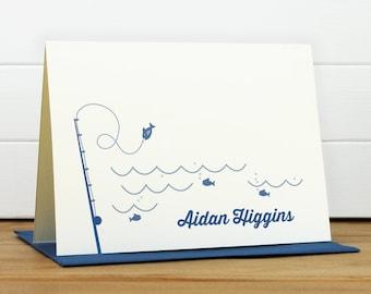 Personalized Stationery Set / Personalized Stationary Set - GO FISH Custom Personalized Note Card Set - Masculine Child Fish Kids Stationery