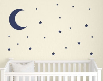 Moon and Stars Wall Decal Set, Childrens Wall Decals, Nursery Wall Decals, Star Wall Stickers, Neutral Nursery Decor