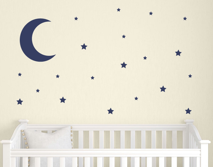 Moon and Stars Wall Decal Set Childrens Wall Decals Nursery