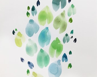 Leaf Study #5 in Blues and Greens – 8x10 inch Watercolor Painting and Illustration of leaves