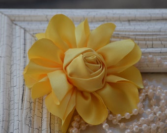 """Satin Fabric Roses, Rolled Rosettes, Yellow Satin Rolled Rosettes, 3"""" Satin Roses, Rolled Roses, Rolled Satin Roses, A1"""