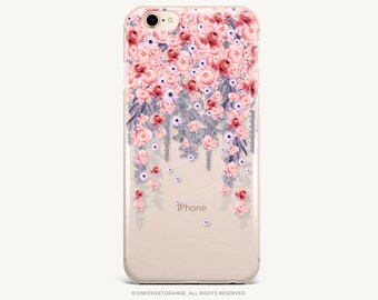 iPhone 8 Case iPhone X Case iPhone 7 Case Floral Clear GRIP Rubber Case iPhone 7 Plus Clear Case iPhone SE Case Samsung S8 Plus Case U45