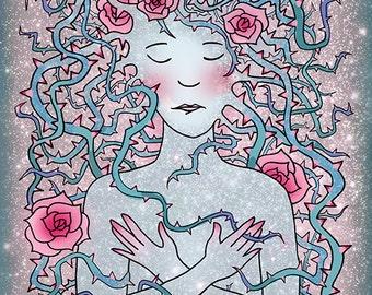 Sleeping Beauty in the Stars, Art Print, Illustration, 9x12 Poster, Briar Rose, Fairy Tale Art, Space Art, Galaxy Art, Pink and Blue Art