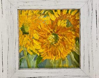 Summer Sunflower - ORIGINAL oil on linen painting, custom framed