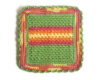 Crochet Dishcloth, Colorful Cotton Dish Cloth, Cotton Washcloth, Handmade Wash Cloth