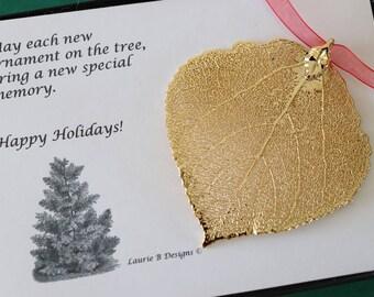Leaf Ornament Gold, Real Aspen Leaf, Leaf Extra Large, Ornament Gift, Christmas Card, Gold Aspen Leaf, Tree Ornament, Wedding, ORNA77