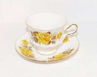 Queen Anne Tea Cup and Saucer Antique Teacups, Bone China Tea Cups Yellow Roses #8616 - 786