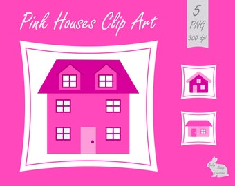 Cute Pink Houses Building Clip Art Clipart Images Card Making Scrapbooking Invitations