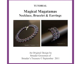 Tutorial, Magical Magatamas Bracelet, Necklace, Earrings. Beading Pattern with Long Magatama and Crystal Beads. Jewelry Set PDF Pattern