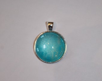 Aqua and Turquoise with Silver Orb Necklace