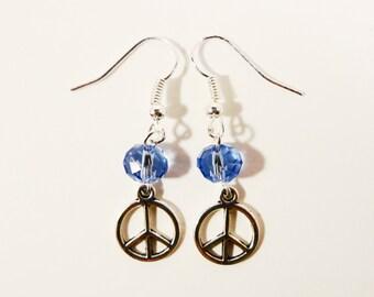 Peace Sign Earrings, Blue Crystal Bead Earrings,  Silver Charm Earrings, Beadwork Jewelry, Beaded Dangle Earrings, Drop Earrings, Hippy