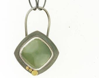 Prehnite Green Cushion Cut Cabochon Dot Necklace