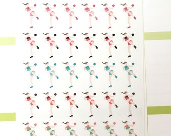 Set of 30 Kickboxing Stickers for various planners, calendars, journals.