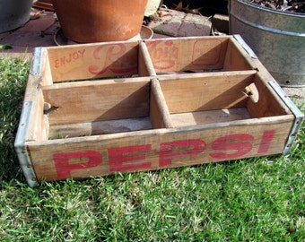 Vintage Pepsi Wood Crate from Marion, IL