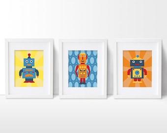 Robot Print Set, Retro Robot Artwork, Art Print, Boys Robot Nursery, Kids' Room Decor