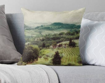 Tuscan Hills, Tuscan, Tuscany, San Gimignano, Italy, Decorative Throw Pillow Cover, Green Hills, fPOE, 16x16, 18x18, 20x20