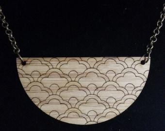 Lasercut Oriental Scallop Bamboo Pendant Necklace