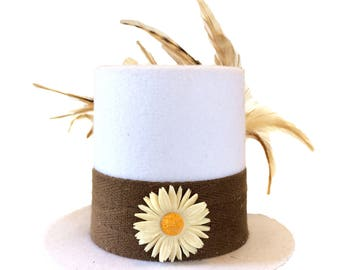 Pushing Daisies White and Brown Tiny Top Hat