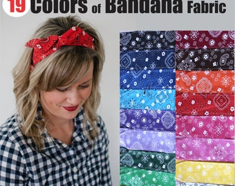Dolly Bow, Choose Your Color Bandana, Rockabilly Wire Headband Flexible Pin Up Teen Women Country Style