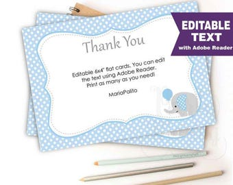Editable Blue Elephant Thank You Cards, Editable Text, Printable Baby shower Note Cards, Baby Boy Elephant Baby Shower Collection D043 BBEB1