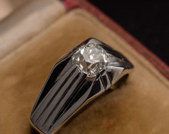 Art Deco 1.2ct Cushion Cut Diamond Solitaire Ring in Platinum, c1930