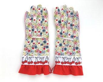 Fancy Cherry Gardening Gloves. Spring Floral Pattern and Red Cherries. Work Gloves for Women. Mother's Day Gift. Gardener Present. Gift for