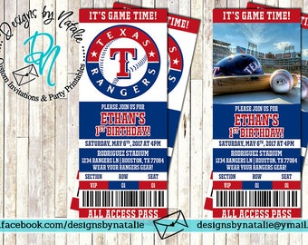 Texas Rangers Baseball Invitation