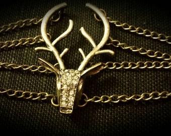 After Life Accessories Handmade Deer Head Antlers Bronze Chain Bracelet