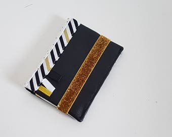 Card holder black and gold in faux leather and glitter