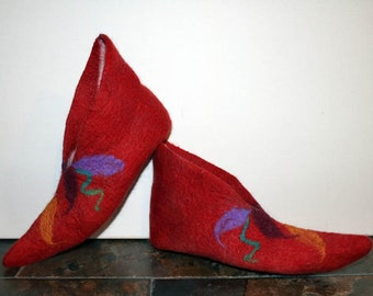 Pointy Felted Slippers, Made to Order