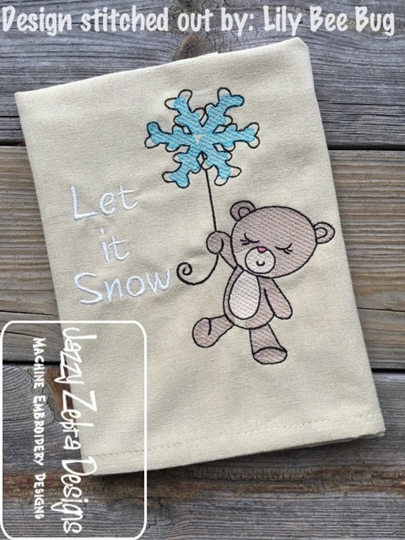 Bear with Snowflake balloon sketch embroidery design - bear sketch embroidery design - winter sketch embroidery design - balloon sketch