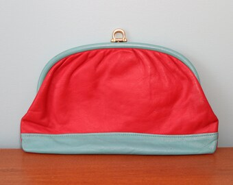 1980s red clutch with aqua accents the perfect 80s accessory