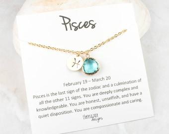 Pisces Zodiac Gold Necklace, Pisces March Necklace, March Birthday Jewelry, Zodiac Necklace, Astrology Gold Necklace
