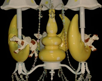 Childrens Lighting - Cow Over The Moon  -  Nursery Rhyme Chandelier -  Mother Goose Nursery