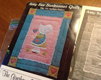 Vintage Child's Quilt Pattern, Amy Sue Sunbonnet Quilt, 80's Quilt Pattern, Appliqué Quilt Pattern, Sunbonnet Girl Pattern