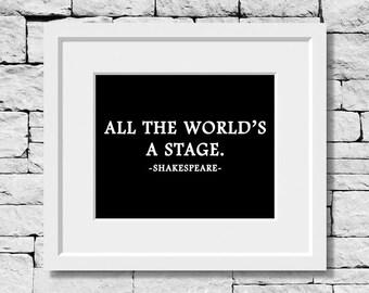 William Shakespeare Quote, Acting Quote, Shakespeare Print, Acting Quote, Shakespeare Quotes, Theatre Quote, Theatre Print, Shakespeare