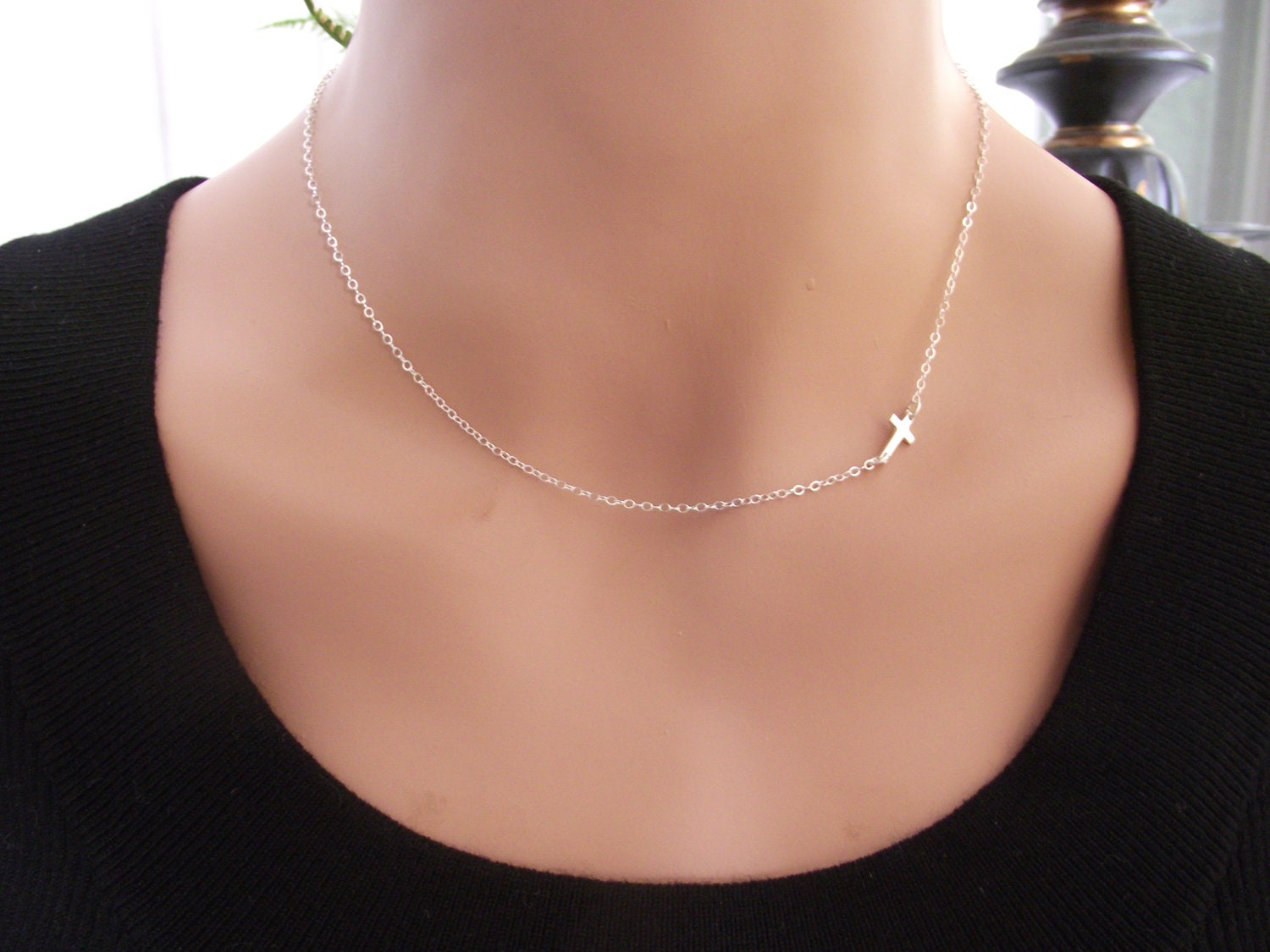 silver necklace sideways wishbone sterling