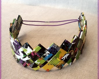 Headband double bands, recycled, plastife, multicolor