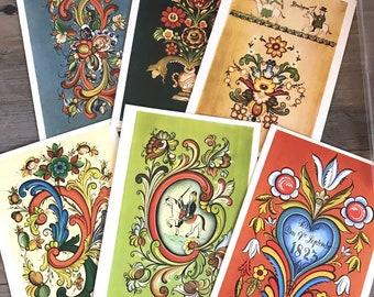 Vtg Norwegian Rose Painting Note Cards Envelopes Set Of 6 Mittet