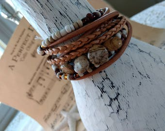 Boho Leather Wrap Bracelet and Necklace, Multi Strands of Leather and beads in shades of Natural  browns and Jasper gemstone beads