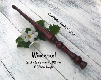 Hand-turned - Winewood - SpectraPly™ Ergonomic Crochet Hook  Sz J / 5.75 mm - 6.00 mm
