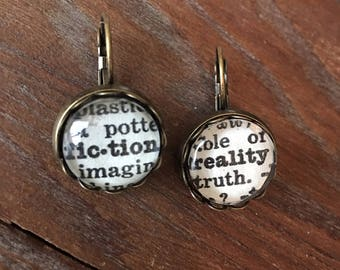 Fiction and Reality Dictionary Earrings - Antique Brass. Gift for Reader. Gift for Writer.