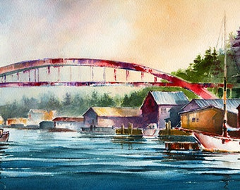 La Conner Washington Waterfront. Rainbow Bridge Watercolor Painting Print. Pacific Northwest. Boats. Mt. Baker. Watercolor Buildings. Red.