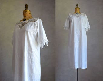 victorian cotton nightgown | antique cotton and crochet lace dress | vintage white cotton midi nightgown