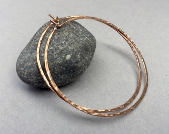 2 inch Rose Gold Fill Hoops, Gold filled Hoop Earrings, Hammered Hoops, Modern Jewelry, Skinny Hoops, Boho, Lightweight, Gift Under 40