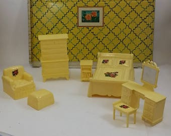 Vintage Dollhouse Furniture -- Marx Bedroom Furniture, Yellow with Decals -- Bed, Nightstand, Chair & Ottoman, Dresser, Vanity with Bench