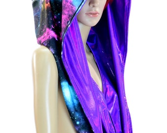 HUGE UV Glow Extra Long Galaxy & Purple Holographic Cowl Hoodie Festival Rave Clubwear Hood Reversible Hood   -150243